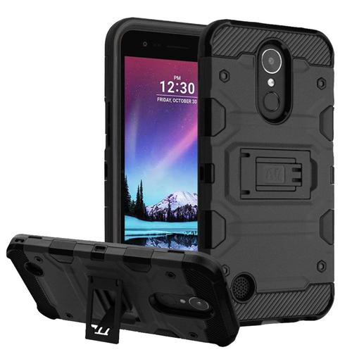 Insten Storm Tank Hard Hybrid TPU Case w/stand For LG Harmony/K10 (2017)/K20 Plus/K20 V, Black