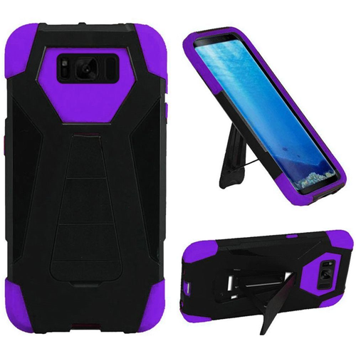 Insten T-Stand Hard Dual Layer Silicone Case w/stand For Samsung Galaxy S8, Black/Purple