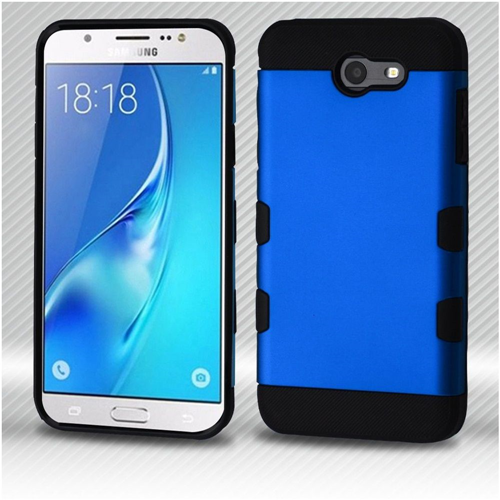 Insten Hard Metallic TPU Case For Samsung Galaxy J7 (2017)/J7 Perx/J7 Sky Pro/J7 V, Blue/Black