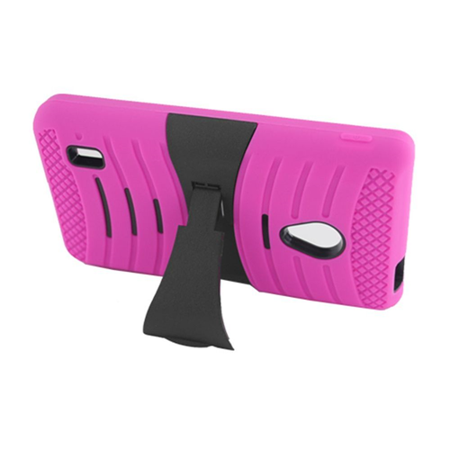 Insten Wave Symbiosis Silicone Rubber Hard Case w/stand For LG Lucid 2 VS870, Hot Pink/Black