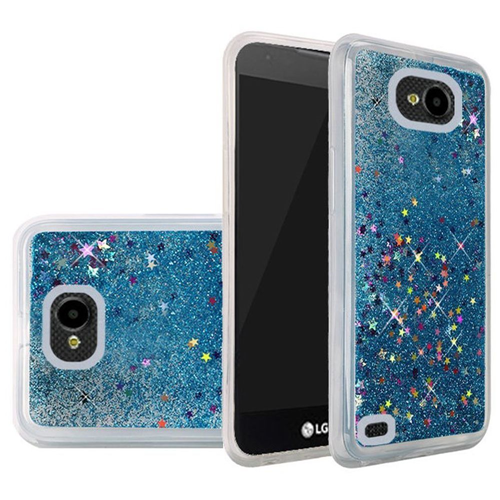 Insten Quicksand Hard Glitter Cover Case For LG X Venture, Blue