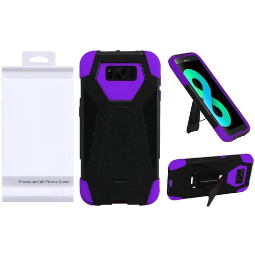 Insten T-Stand Hard Hybrid Plastic Silicone Case w/stand For Samsung Galaxy S8 Plus, Black/Purple