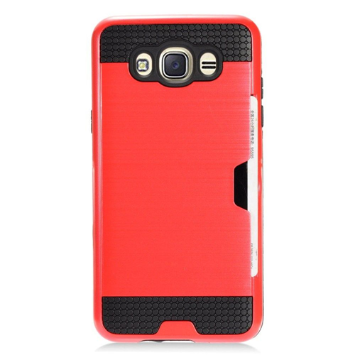Insten Chrome Brushed Hard Cover Case w/card holder For Samsung Galaxy J7 (2016), Red/Black