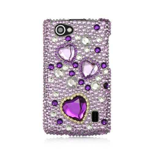 Insten Hearts Hard 3D Diamante Cover Case For LG Optimus M+, Purple