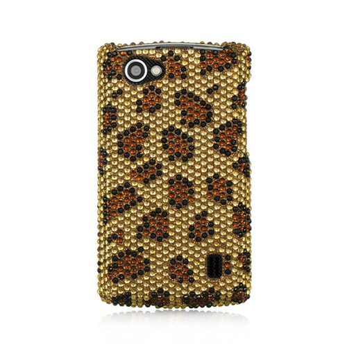 Insten Leopard Hard Diamond Cover Case For LG Optimus M+, Gold