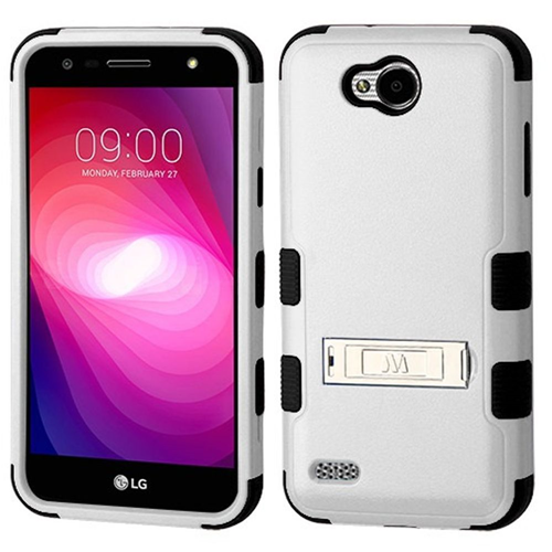 Insten Tuff Hard Dual Layer Plastic TPU Cover Case w/stand For LG X Power 2, Gray/Black