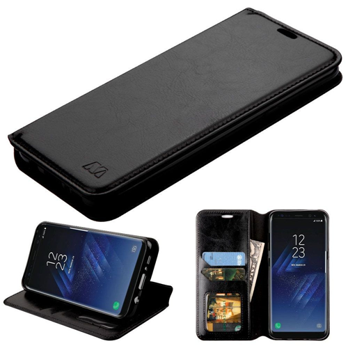 Insten Folio Leather Fabric Case w/stand/card holder/Photo Display For Samsung Galaxy S8 Plus, Black