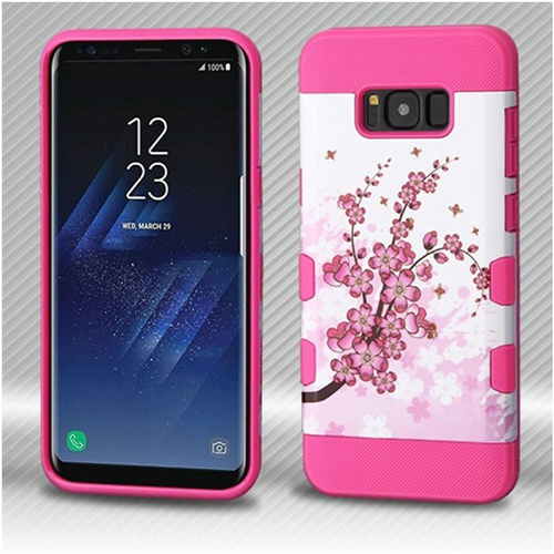 Insten Tuff Spring Flowers Hard Hybrid Silicone Case For Samsung Galaxy S8 Plus, White/Hot Pink