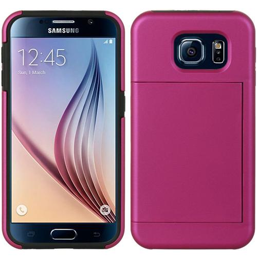 Insten Hard Hybrid Plastic Silicone Case w/card slot For Samsung Galaxy S6, Hot Pink/Black