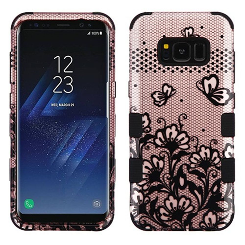 Insten Lace Flowers Hard Rubber Coated Silicone Case For Samsung Galaxy S8 Plus, Rose Gold/Black
