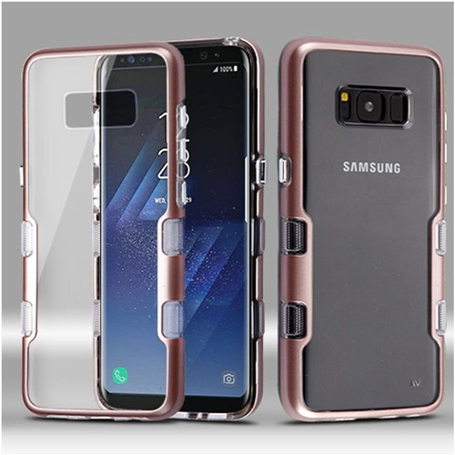 Insten Tuff Hard Dual Layer Plastic TPU Cover Case For Samsung Galaxy S8 Plus, Clear/Rose Gold