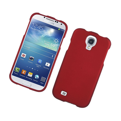 Insten Hard Rubber Coated Case For Samsung Galaxy S4, Red