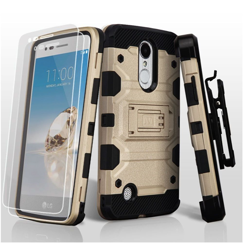 Insten Tank Hard Case w/stand For LG Aristo/Fortune/K4 (2017)/K8 (2017)/LV3/Phoenix 3, Gold/Black