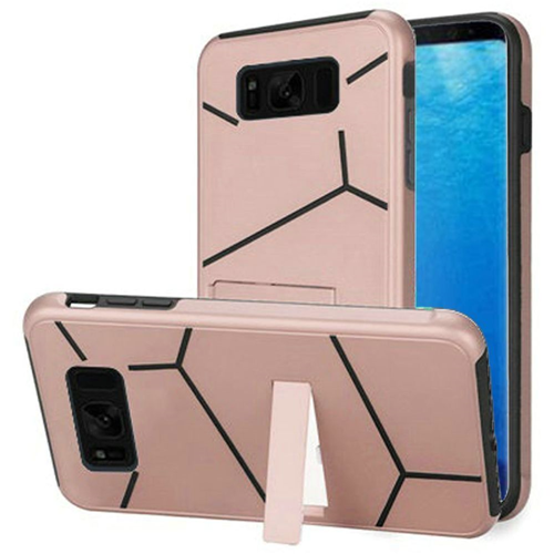 Insten Hard Hybrid Plastic TPU Cover Case w/stand For Samsung Galaxy S8, Rose Gold/Black