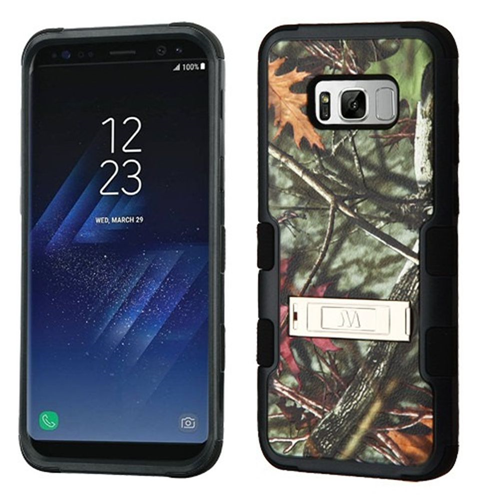 Insten Tuff Oak Leaves Hard Dual Layer Silicone Case w/stand For Samsung Galaxy S8, Green/Black