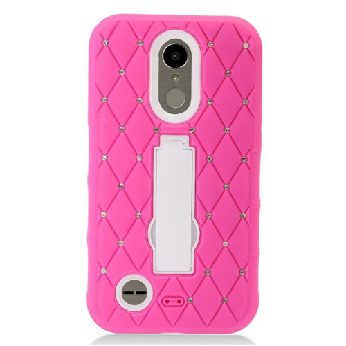 Insten Hard Rubber Case w/stand/Diamond For LG Harmony/K10 (2017)/K20 Plus/K20 V, Hot Pink/White