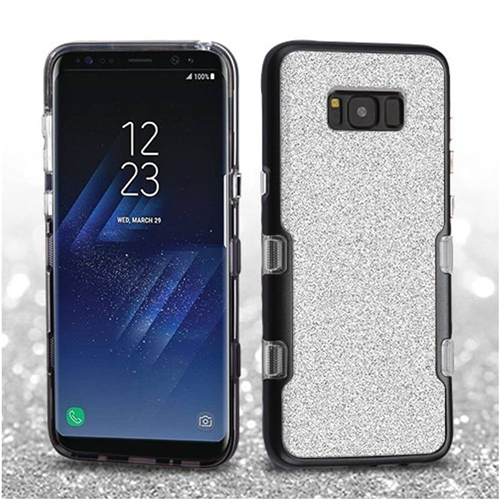Insten Tuff Hard Dual Layer Glitter TPU Case For Samsung Galaxy S8 Plus, Silver/Black