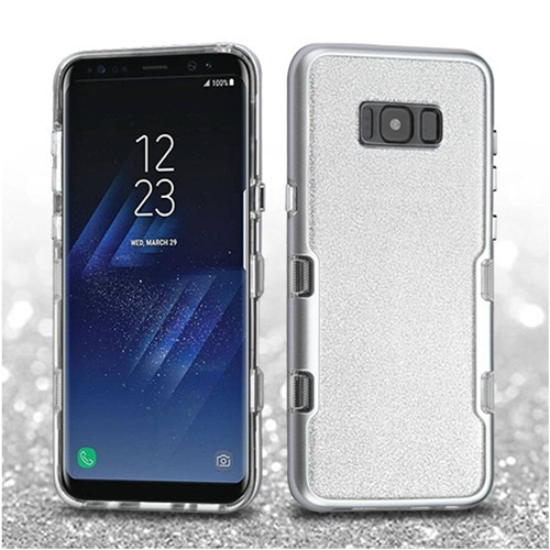 Insten Tuff Hard Hybrid Glitter TPU Cover Case For Samsung Galaxy S8 Plus, Silver