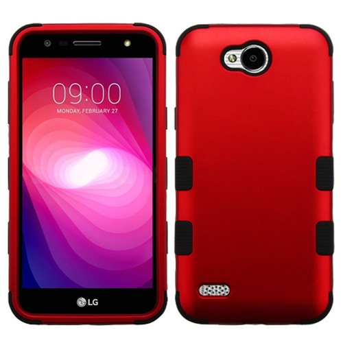 Insten Tuff Hard Dual Layer Metallic TPU Cover Case For LG X Power 2, Red/Black