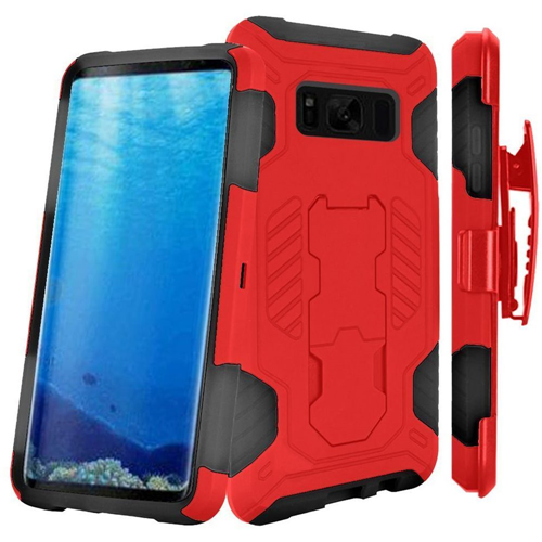 Insten SuperCoil Hard Dual Layer Plastic Case w/stand/Holster For Samsung Galaxy S8, Red/Black