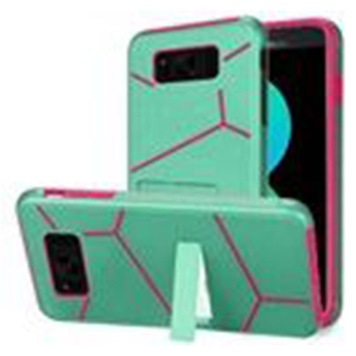Insten Hard Dual Layer Plastic TPU Case w/stand For Samsung Galaxy S8 Plus, Teal/Hot Pink