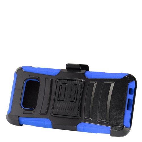 Insten Armor Hard Plastic Silicone Case w/stand/Holster For Samsung Galaxy S8 Plus, Black/Blue