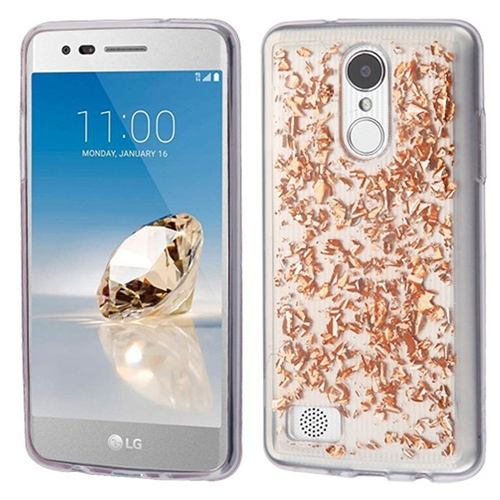 Insten Flakes TPU Case For LG Aristo/Fortune/K4 (2017)/K8 (2017)/LV3/Phoenix 3, Rose Gold/Clear
