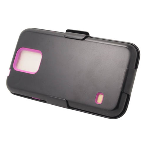 Insten Hard Plastic Silicone Cover Case w/Holster For Samsung Galaxy S5, Black/Hot Pink