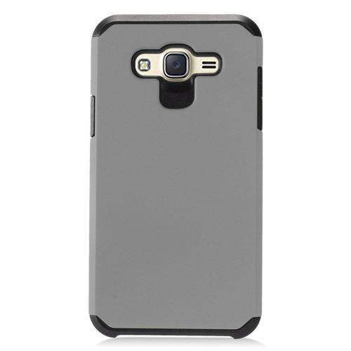 Insten Hard Hybrid Rubber Coated Case For Samsung Galaxy J7 (2015), Gray/Black