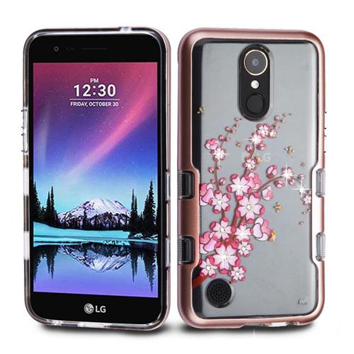 Insten Spring Flowers Hard Plastic Case For LG Harmony/K10 (2017)/K20 Plus/K20 V, Rose Gold/Clear