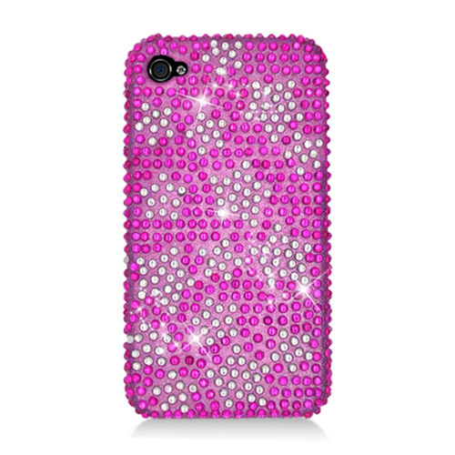 Insten Stars Hard Diamante Case For Apple iPhone 4/4S, Hot Pink/Silver