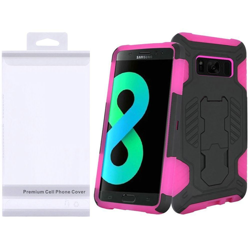 Insten SuperCoil Hard Hybrid Plastic Cover Case w/stand For Samsung Galaxy S8 Plus, Black/Hot Pink