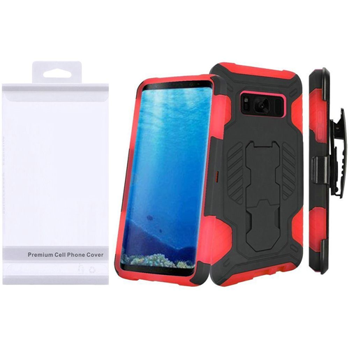 Insten SuperCoil Hard Hybrid Plastic Case w/stand/Holster For Samsung Galaxy S8, Black/Red