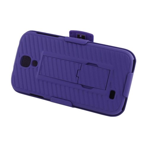 Insten Hard Rubber Coated Case w/stand/Holster For Samsung Galaxy S4, Purple