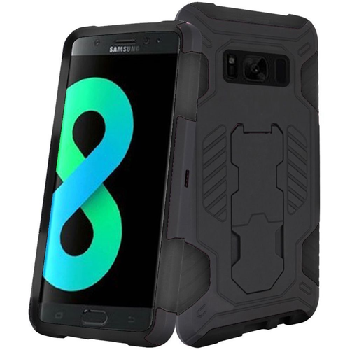 Insten SuperCoil Hard Dual Layer Plastic Case w/stand For Samsung Galaxy S8 Plus, Black