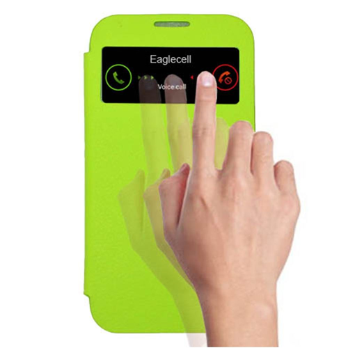 Insten Flip Leather Fabric Case w/card slot For Samsung Galaxy S4, Green