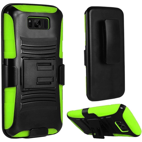 Insten Hard Rubber Coated Silicone Case w/stand/Holster For Samsung Galaxy S8 Plus, Black/Neon Green