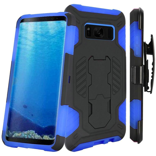 Insten SuperCoil Hard Hybrid Plastic Case w/stand/Holster For Samsung Galaxy S8, Black/Blue
