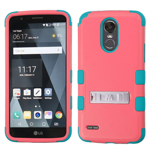Insten Tuff Hard Dual Layer Plastic TPU Cover Case w/stand For LG Stylo 3 Plus, Baby Red/Teal