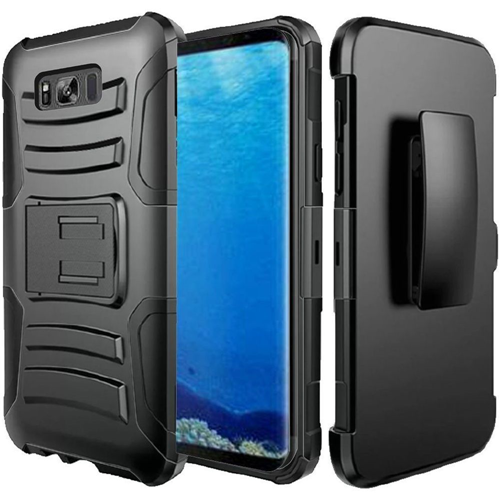 Insten Hard Hybrid Rubber Silicone Case w/stand/Holster For Samsung Galaxy S8, Black