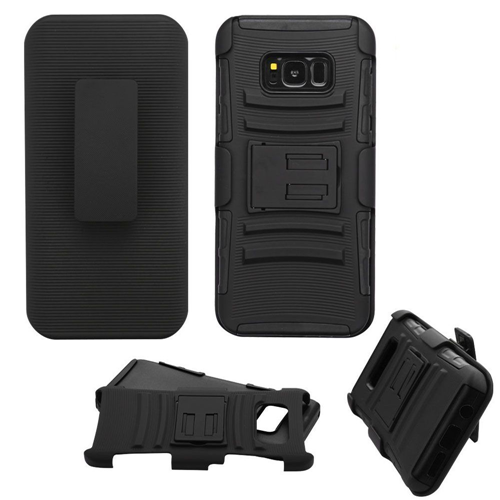 Insten Advanced Armor Hard Dual Layer TPU Case w/stand/Holster For Samsung Galaxy S8 Plus, Black