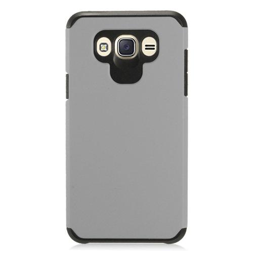 Insten Hard Hybrid TPU Case For Samsung Galaxy J7 (2016), Gray/Black
