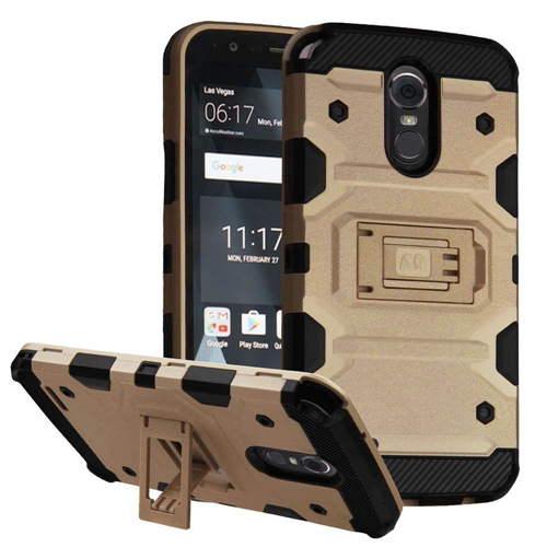 Insten Storm Tank Hard Hybrid TPU Cover Case w/stand For LG Stylo 3, Gold/Black