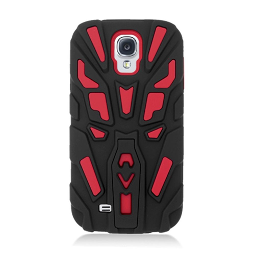 Insten Skin Hybrid Rubber Cover Case w/stand For Samsung Galaxy S4, Black/Red