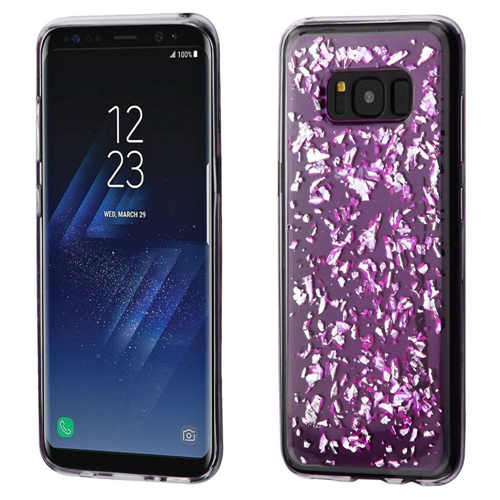 Insten Flakes TPU Cover Case For Samsung Galaxy S8, Purple/Silver