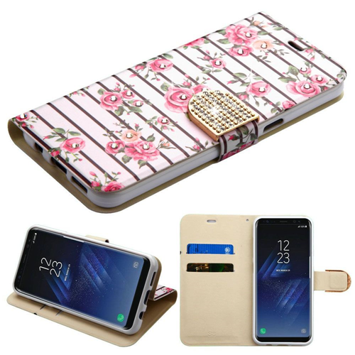 Insten Roses Flip Leather Fabric Case w/stand/card slot/Diamond For Samsung Galaxy S8, Multi-Color