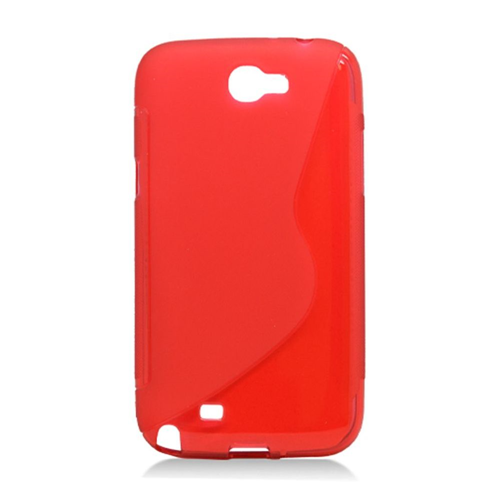 Insten S Shape Gel Case For Samsung Galaxy Note II, Red