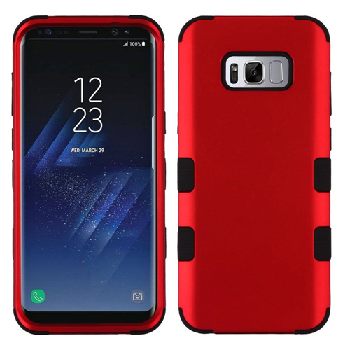 Insten Tuff Hard Hybrid Metallic TPU Case For Samsung Galaxy S8 Plus, Red/Black