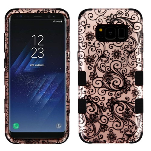 Insten Four-leaf Clover Hard Rubber Coated Case For Samsung Galaxy S8 Plus, Rose Gold/Black