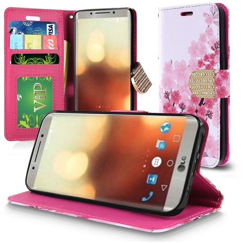 Insten Cherry Blossom Flip Leather Fabric Case Lanyard w/stand/card holder For LG G6, Multi-Color